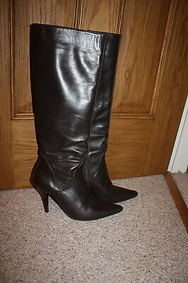 Brown leather long boots, UK 5, EU 38