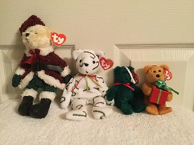 4 HOLIDAY Ty Handmade Christmas Ornaments: Beanies Plush with Hang Tags