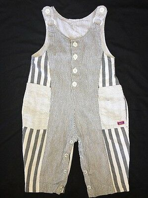 Vintage 80's Gray And White Striped Overalls Size 18 Months Jumpsuit
