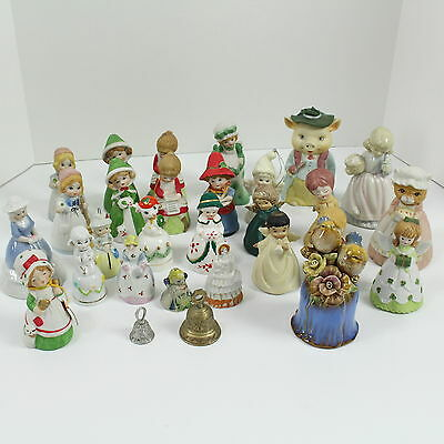 Lot of 29 all Sizes Porcelain, Ceramic, or Brass Bells Angels, Christmas Bells