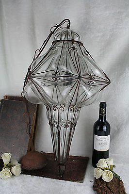 Unusual XXL Geometric MURANO art glass Seguso caged lantern lamp chandelier