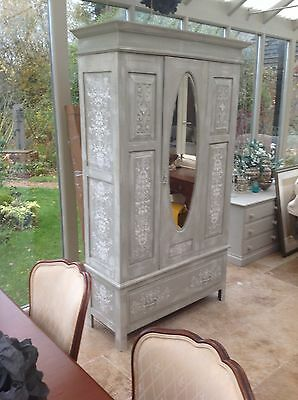 Hand Painted And Stencilled Shabby Chic Edwardian Antique Wardrobe