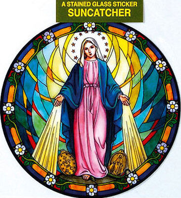 Virgin Mary Stained Glass Sun Catcher Sticker - Statues Candles Pictures Listed