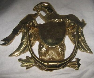 Vintage Solid Brass Eagle Door Knocker w/Nameplate - Japan