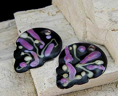 Fused Glass~ Enameled Copper~Artisan Pendant~ Teardrop Charms~Midnight Magic