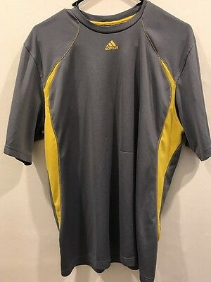 MEN'S Adidas Brand Athletic Fabric Gray 100% Polyester Graphic Print T Shirt L