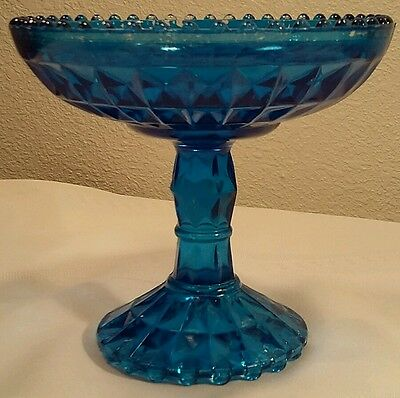 Jeannette Blue Flashed Windsor Beaded Edge Compote