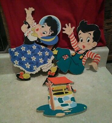vintage mother goose Jack and Jill cardboard nursery wall plaques