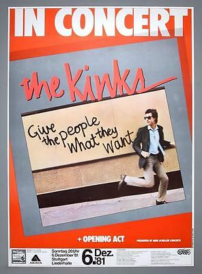 THE KINKS - rare original Germany 1981 Give the People concert poster