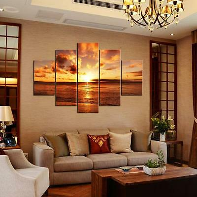 UK Large Seaside Sunset Canvas Print Wall Art Painting Picture Decor Unframed