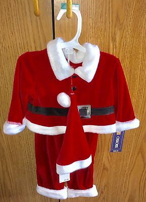 NWT Cherokee 3pc Santa Outfit/Suit Unisex Shirt/Pants/Hat Size 0-3M and NB