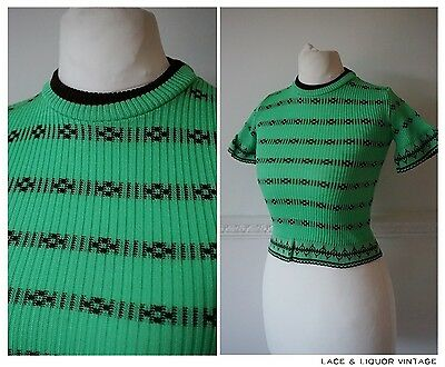 GREAT RETRO vtg 1970s GREEN BROWN GIRLS PATTERNED KNIT TOP AGE 7 - 8
