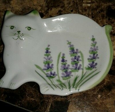Vintage Ceramic Figural Cat Spoon Rest green  with purple  Detail