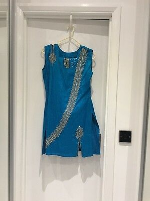 Indian 3 Piece Suit For Girls Age 11 Turquoise With Silver Embroidery