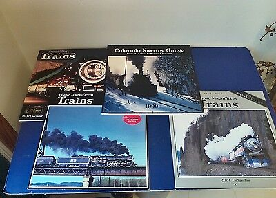 Vintage Lot of 4 COLLECTIBLE TRAIN Calendars,(3)Those Magnificent Train Calendar