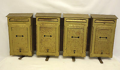 Vintage U.S. Postal Metal Mailbox, 4 Mailboxes on Wood, 4 Apartment Mailboxes