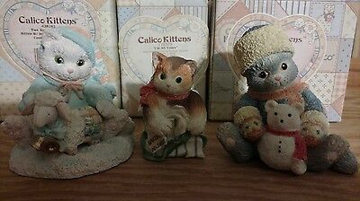 "Lot Of 3 Collectible Christmas / Winter ""calico Kittens"" ~ Retired ~"