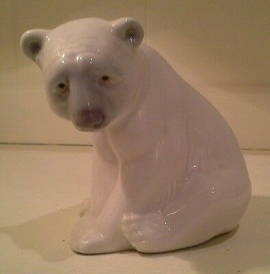 Lladro white porcelain Polar Bear Sitting Excellent Condition
