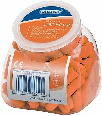 Draper 12213 Ear Plugs with Dispenser Pack of 50