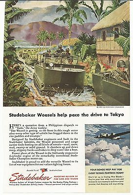 1945 WWII Studebaker Weasel Automobile Advertising Print Ad