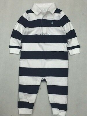 Ralph Lauren Baby Boy Polo Outfit Rumper Blue White Striped Long Sleeve 9M