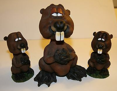 Lot 3 vintage bobblehead beavers large BHA-4 & 2 small collectible