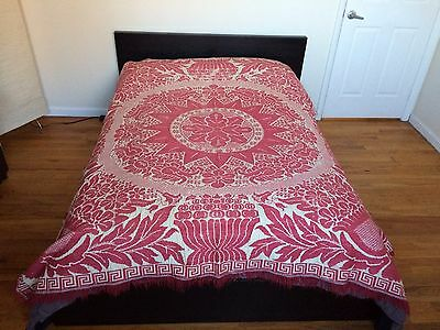 "Antique 1840's Raspberry & Cream Hand Woven Coverlet - 75"" x 80"""