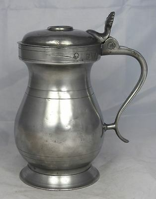 Antique Scottish pewter 1 pint Glasgow lidded measure by Robert Galbraith