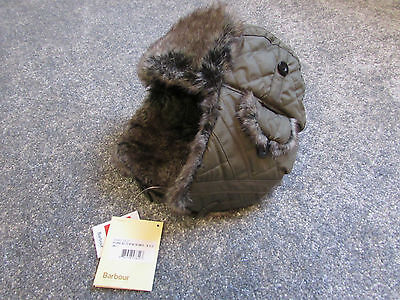 BARBOUR Kids - Quilted Fur Hunting Hat (Olive Green) Size Small *Stunning*