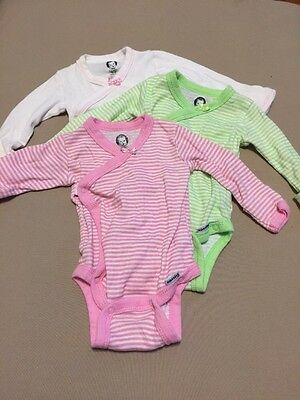 Lot Of 3 Infant Baby Girls Long Sleeve Onesies Size 0-3 Mos