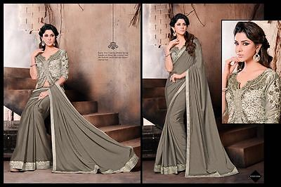 Chinon Chiffon Designer Saree Indian Bollywood Women Wedding Party Sari Us582