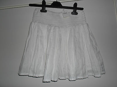 brand new with tags girls / ladies white loose pleated cotton skirt size medium