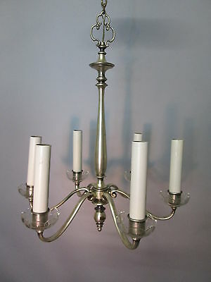 """Vintage Antique Silver Plate Chandelier Tudor Neo Classical Rewired 6 Arm 40"""""""