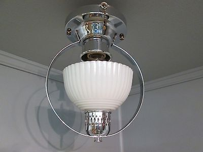 Vintage Antique Art Deco Slip Shade Ceiling Light Chrome Light Fixture 9 1/4""