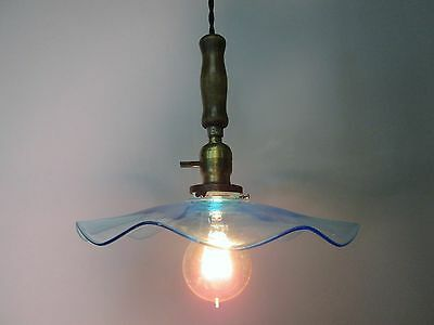 Vintage Industrial Drop Pendant Light Wooden Handle Blue Glas Ruffled  Shade 11""