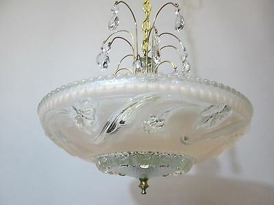 Vintage Antique Art Deco Pink Chandelier Depression Era Ceiling Light Fixture