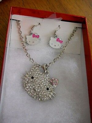 "Hello Kitty 26"" Silvertone Necklace with Wire Pierced Earrings"