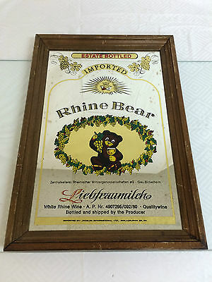 Vintage Rhine Bear White Wine Bar Mirror Framed Bar Man Cave Sign