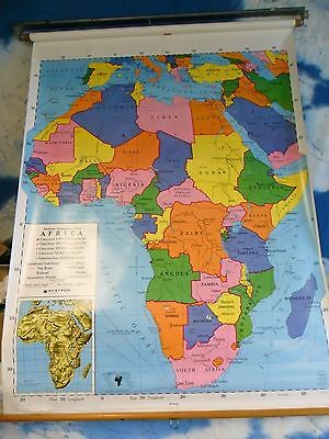 Vtg  Nystrom  Pull Down School Map Africa large map with hardware NICE