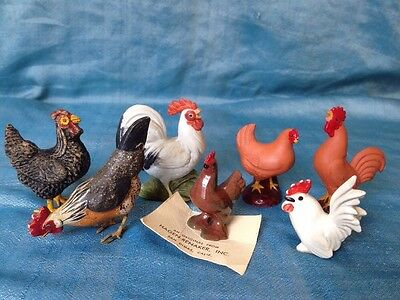 vintage Miniature Chickens Rooster Hen lot Hagen Renaker, compo, pottery, china
