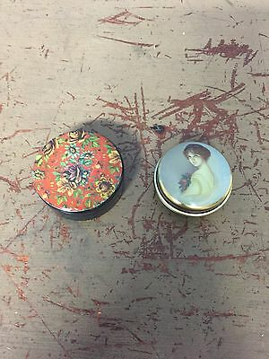 2 Small Pill Boxes Plastic With Floral Tin With Victorian Lady