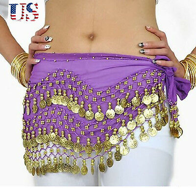 Fashion Belly Dance Costume Hip Scarf Skirt Bead Gold Coin Dancer Dancing Wrap