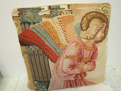 """Angel NEEDLEPOINT Petit Point PILLOW 15"""" x 15"""" Angel Gabriel """"The Annunciation"""""""