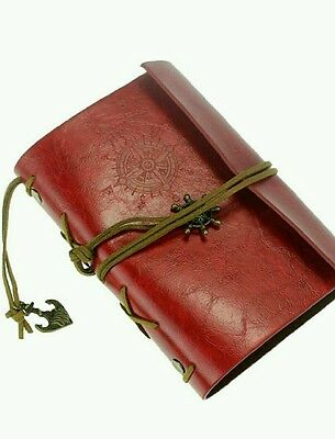 Vintage Retro Leather Cover Journal Jotter Diary Notebook(Burgundy)