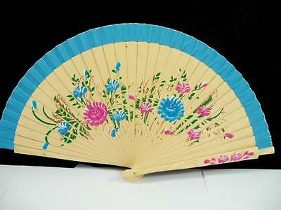 Folding Wood Hand Painted Floral Summer Spanish Fabric Wdding Party Dance Fan #d