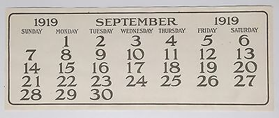 Original 1919 Coca Cola Calendar September page for Aviation Theme Calendar Mint