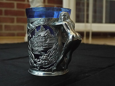 1920's/50's Japanese Silver Metal Mug Decorated With Naked Females & Dragons