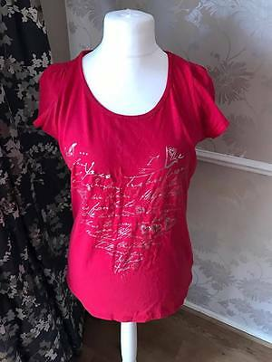 Womens / Ladies Size 18 Red Short Sleeved Casual Top (M2056)