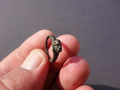 ancient Roman bronze ring with engraved head of Zeus, totally intact