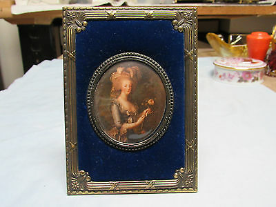 Antique Bronze Miniature painting print velvet picture frame Made in Holland